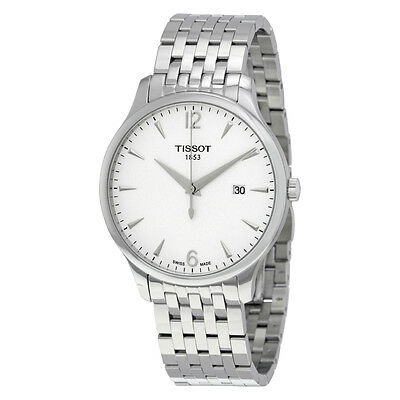 tissot tradition gents brown leather stainless steel mens watch tissot tradition silver dial stainless steel mens watch t0636101103700