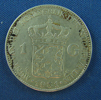 1931 1 gulden netherlands silver circulated a nice coin