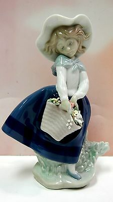 Pretty Pickings - Female Girl With Flowers Figurine By Lladro #5222