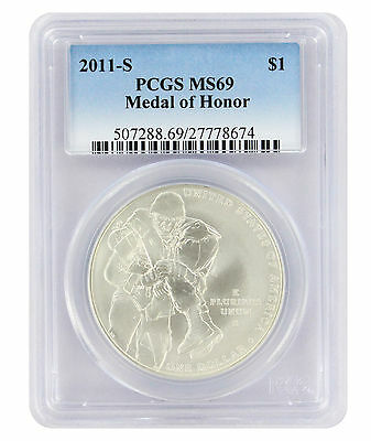 2011-S Medal of Honor Silver Commemorative Dollar MS69 PCGS Mint State 69