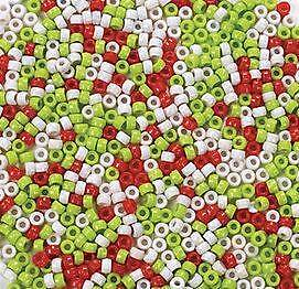 100 Christmas Plastic Pony Beads Assortment 3 Color  Red White Green Holiday