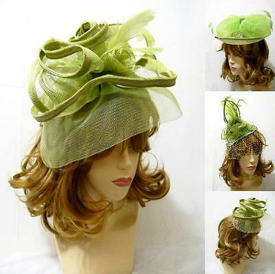 Green Kentucky Veil Derby Cocktail Headband Sinamay Feather Church Hat Party NEW