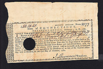 US Treasury Note 1781 State of Connecticut Signature : John Lawrence