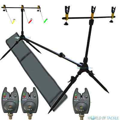 NGT Rod Pod Carp Fishing With Bag 3 Rests and 3 Swingers and 3 Bite Alarms