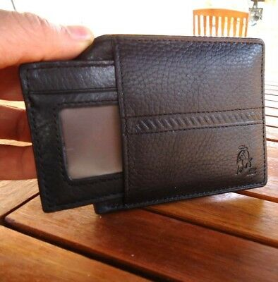 Genuine real leather wallet man black Coin bifold Credit Card vintage brown new