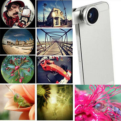Silver 3in1 Fisheye Wide Angle Macro Lens With Clip For Samsung iPhone LG Camera