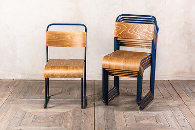 Industrial Stacking Chairs With Dark Blue Frames Large Quantity Available
