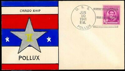 USS Cargo Ship Pollux - AKS-2 - Mae Weigand hand painted cachet