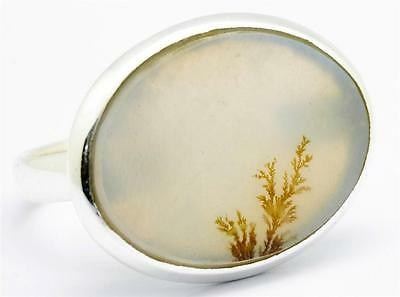 Scenic Agate Gemstone Ring Solid 925 Sterling Silver Jewelry Size 8 IR28151