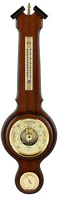 """Aneroid Barometer with Thermometer and Hygrometer 5"""" Dial Brass Finial"""