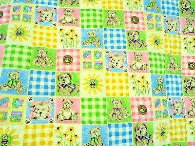 New Hand Made Gingham Bears Flowers Pink Blue Green Baby Quilt Shower Heirloom