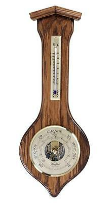 "Solid English Oak Aneroid Barometer and Thermometer 4"" Dial"