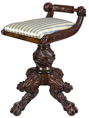 SWC-Classical Carved Mahogany Piano Stool with Dolphins, New York, c.1825