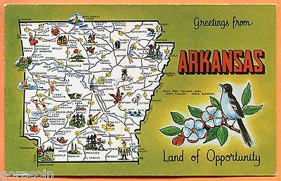 Greetings from Arkansas, Land of Opportunity, Map Postcard circa 1960