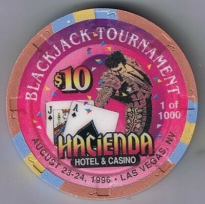 Hacienda Hotel $10.00 Blackjack Tournament Casino Chip Las Vegas Nevada 1996