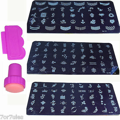 1 Kit Sello y Placa de Metal Estampado de Uñas Nail Stamp Decoration 01-16 Plate