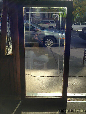"""Antique Chicago Etched & Beveled Glass Door / Window 46"""" by 22"""""""