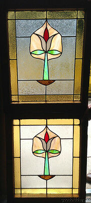 "Nice Pair Of Stained Leaded Glass Windows from Chicago 29"" by 24"""