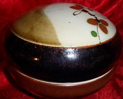 Collectible Pottery Powder Dish Jewelry Trinket Box Oriental Design Asian Floral