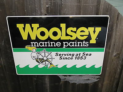 Authentic 20 X 30 Woolsey Marine Paints Aluminum Sign Nautical Maritime