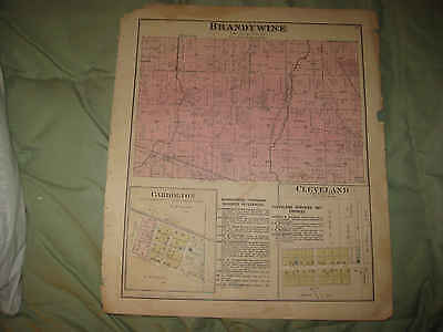 Antique 1887 Brandywine Township Cleveland Carrolton Hancock County Indiana Map