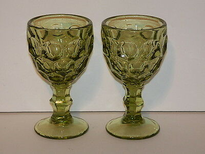 Imperial Glass Provincial Green Pair Wine Glasses 4 3/8""