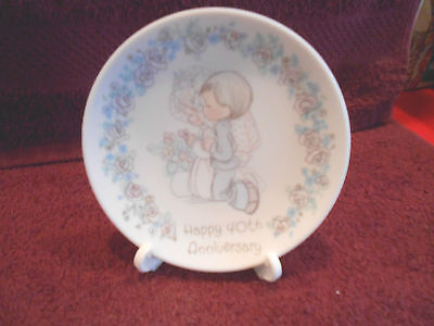 """1989 Precious Moments Happy 40th Anniversary plate with stand 4"""""""