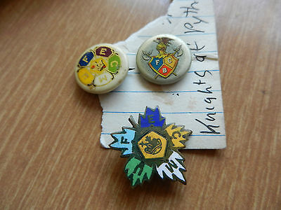 3 KNIGHTS OF PYTHIAS PINBACK BUTTONS & PIN