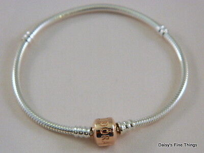 NEW! AUTHENTIC PANDORA STERLING SILVER BRACELET ROSE GOLD PLATED CLASP #580702HV