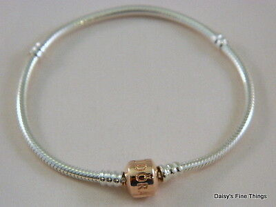 NEW! AUTHENTIC PANDORA STERLING SILVER BRACELET WITH ROSE GOLD CLASP #580702