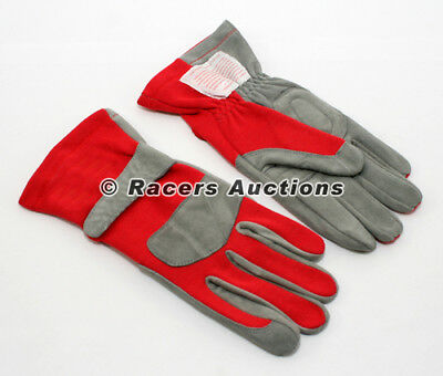 Single Layer Red Driving Gloves Racing Dirt Circle Track Karting Size Large
