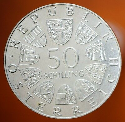 1973 Austria 50 Schilling  90% Silver Proof Coin Bummerl House  KM# 2916 BU