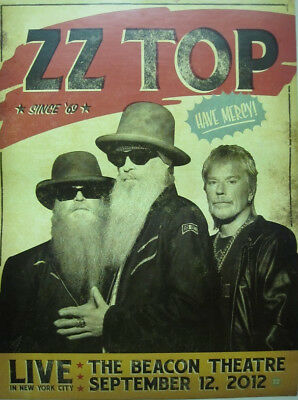 Zz Top 2012 Beacon Theatre Live Promotional Poster ~New~Mint Condition~!