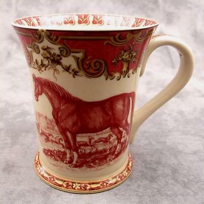 RED & CREAM TRANSFERWARE VICTORIAN COUNTRYSIDE HORSE TOILE MUG CUP ~ 12 Ounce ~