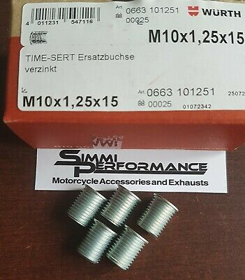 5 x WURTH M10 x 1.25 TIME SERT INSERTS    16.5 mm length - for Thread Repair