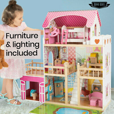 ROVO KIDS Dollhouse Dream Dolls Doll House Wooden Furniture Girls Pink Mansion