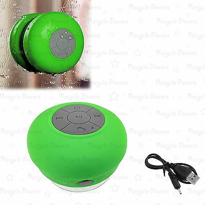 Waterproof Bluetooth Wireless Stereo Speaker with Bulit-in Mic Suction Cup Green