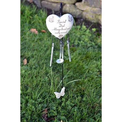 Special Dad Always Loved Sadly Missed Memorial Heart Wind Chime Graveside