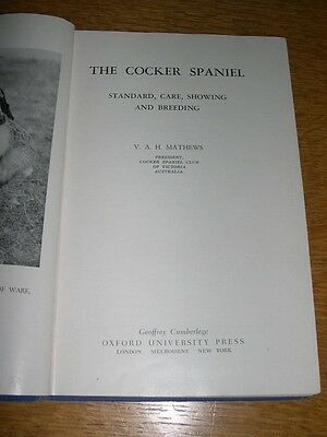 RARE COCKER SPANIEL DOG BOOK  BY MATHEWS 1951 ILLUSTRATED