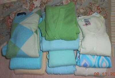 Lot of 10 100% CASHMERE Sweaters Craft Cutter Repurpose Upcycle Blue Green Vario
