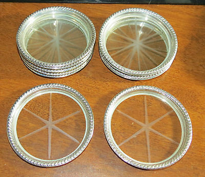"11 Sterling Etched Star Coasters 3 3/8"" EXC!"