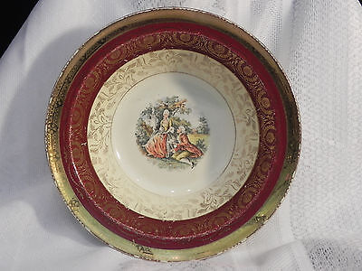 "Taylor Smith Taylor vintage Courting Serving Bowl with 22K Gold  9"" USA"