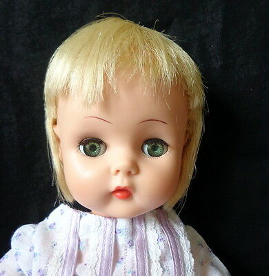 """1960s Horsman 17"""" Baby Doll Lovely Clean Clothes Sweet Face"""