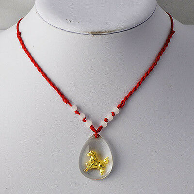 Special  Horse in Crystal Murano Glass Pendant Nephrite Red Rope Necklace D3260