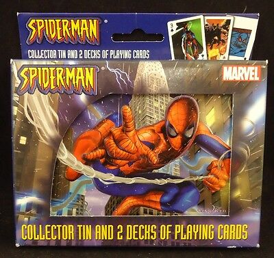 Marvel Spider-Man Collector Tin & 2 Decks of Bicycle Playing Cards