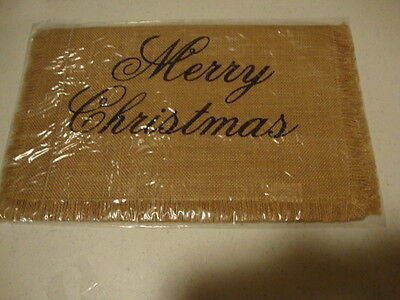 "Country burlap 36"" MERRY CHRISTMAS fringed table runner /nice holiday decor"