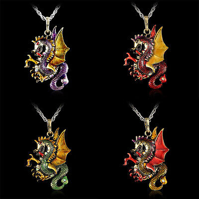 Fashion Dragon Necklace Pendant Jewelry Retro Fire Sweater Chain Crystal Gift