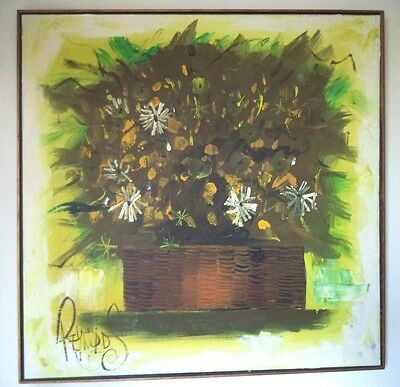 Stunning Vintage Estate Mid Century Art Signed Reynolds Large Oil On Canvas!!!