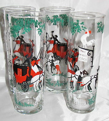 The Arrival Set of 4 Vintage Holiday Ice Tea Glasses Tumblers Carriages