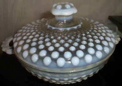 Anchor Hocking Frosted Iridescent Glass Candy Bowl Dome Lid Moonstone Uknown